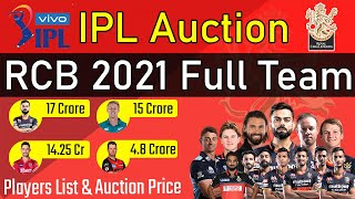 Royal Challengers Bangalore IPL Auction 2021 Full Team - RCB Squad and All Players List for IPL 2021