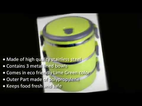 Lime Green Stainless Steel Food Storage Container & Lime Green Stainless Steel Food Storage Container - YouTube