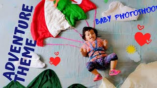Baby Theme Photography at home | Theme - Parachute | Adventure Theme