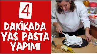 4 dakikada yaş pasta