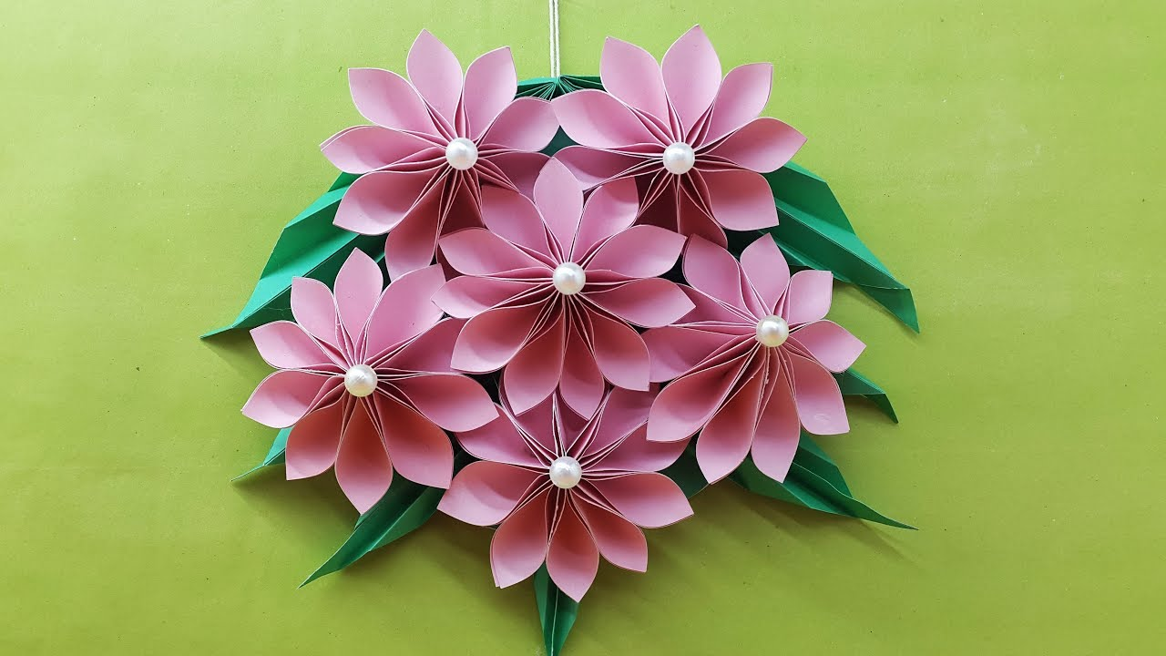 Origami Easy Paper Flower Paper Flower Wall Hanging Diy Handmade Craft Wall Decoration Ideas