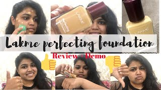 LAKME PERFECTING LIQUID FOUNDATION REVIEW DEMO SHADE MARBLE PRITIKA G