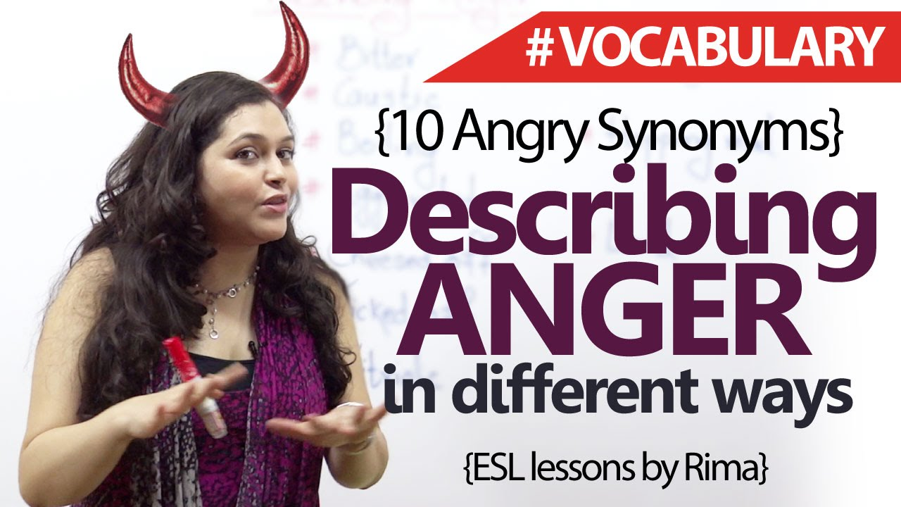 English Lesson -Describing sides of 'ANGER' (Synonyms) – Learning English  Vocabulary