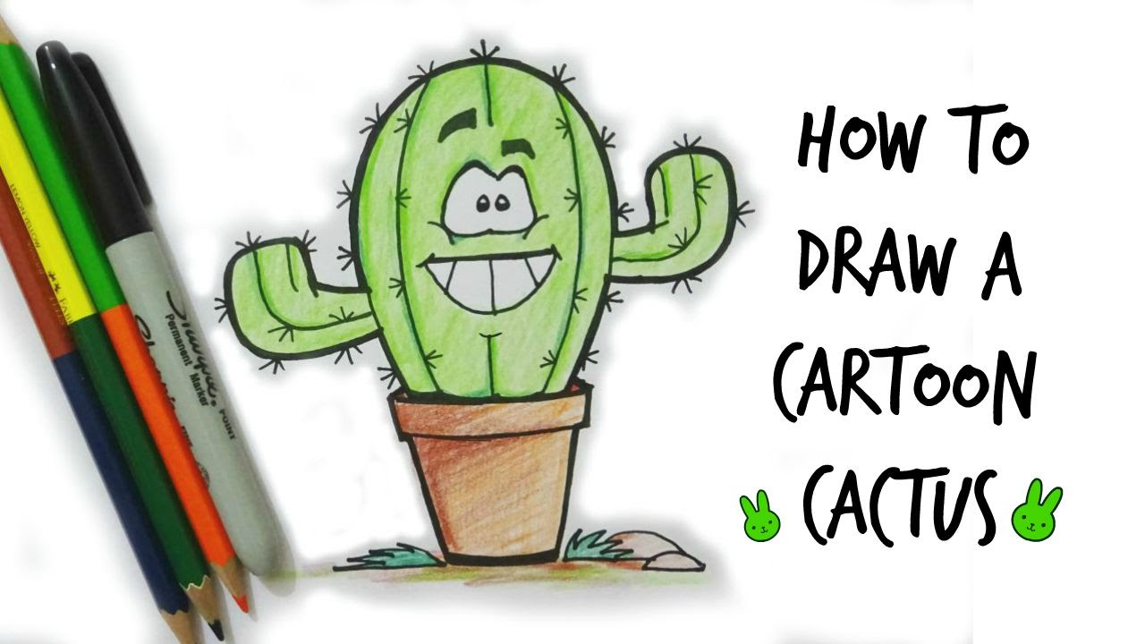 how to draw a cartoon cactus youtube. Black Bedroom Furniture Sets. Home Design Ideas