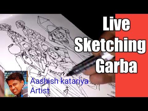 Live sketching 45 | Garba | aashish katariya artist Ahmedabad India | tutorial | drawing thumbnail