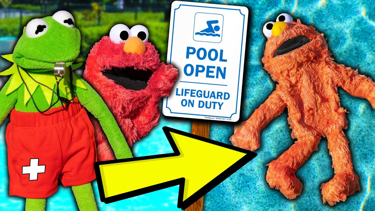 Kermit the Frog and Elmo's Summer Swimming Pool Party! (GONE WRONG)
