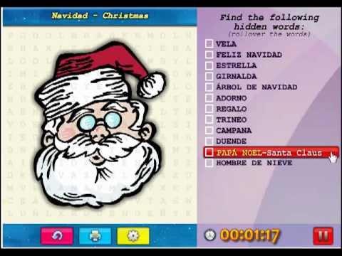 Feliz navidad sopa de letras word search puzzle youtube - Sopa de letras de navidad ...