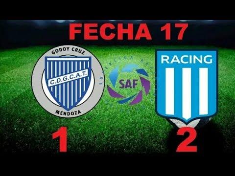 Godoy Cruz 1-2 Racing Fecha 17 Goles y Resumenes (Superliga Argentina 2017/2018)