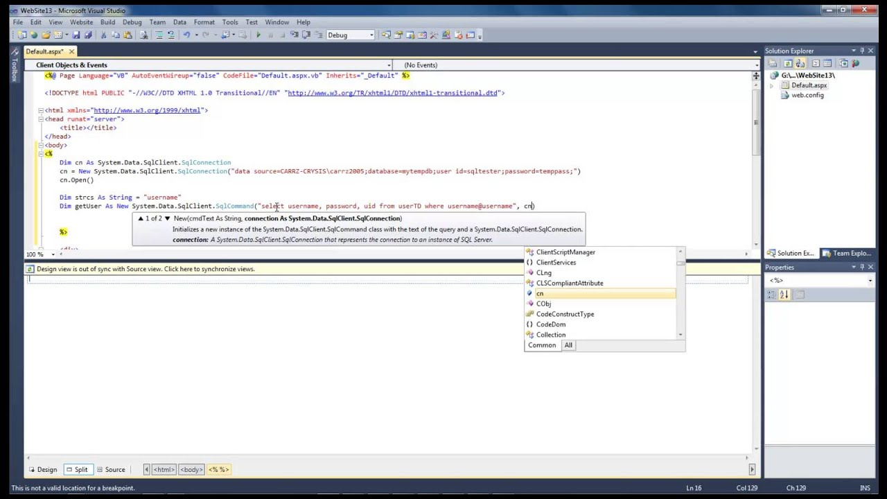 Visual studio 2010 - vb net Lesson #7 - Read data from a SQL Server Database