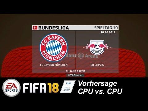 FIFA18 Bundesliga 17/18 Vorhersage (10. Spieltag): FC Bayern gg RB Leipzig (CPU vs. CPU)