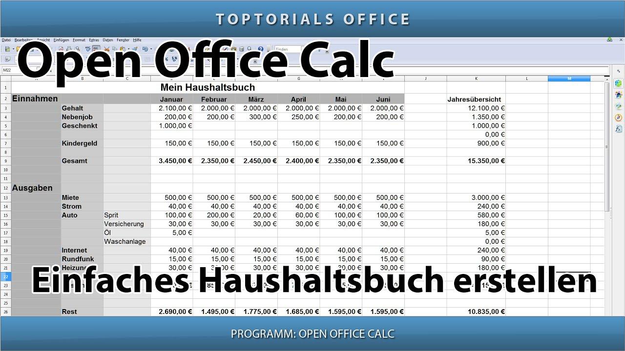 Eigenes Haushaltsbuch erstellen ganz leicht (OpenOffice Calc) - YouTube