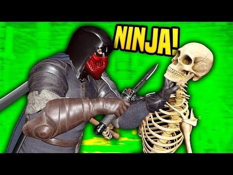 NINJA TAKES DOWN SKELETON ARMY - Blades And Sorcery VR Mods (Update 7)
