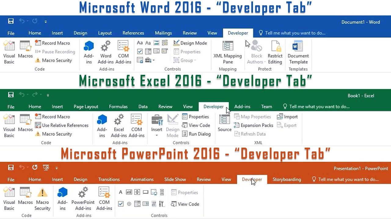 Microsoft Office 2016 - How to enable the Developer Tab in Word, Excel &  PowerPoint