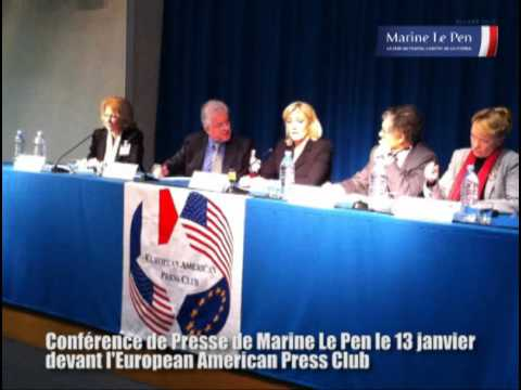 Marine Le Pen : conférence de presse devant l'American European Press Club (13/01/2012)