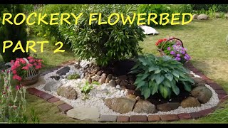 GARDEN DESIGN (92) part 2 - Rockery construction - Field stone, grit, rhododendron and host.