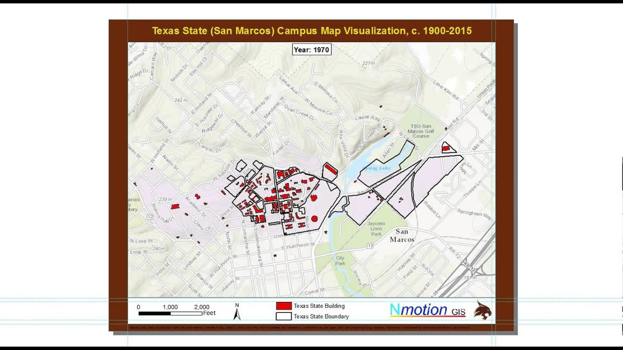 San Marcos Campus Map.Texas State San Marcos Campus Map Visualization C 1900 2015
