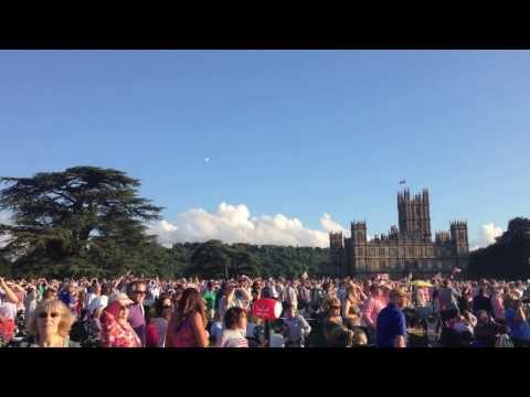 Spitfire Flyby during the Battle Proms at Highclere Castle / Downton Abbey 2013