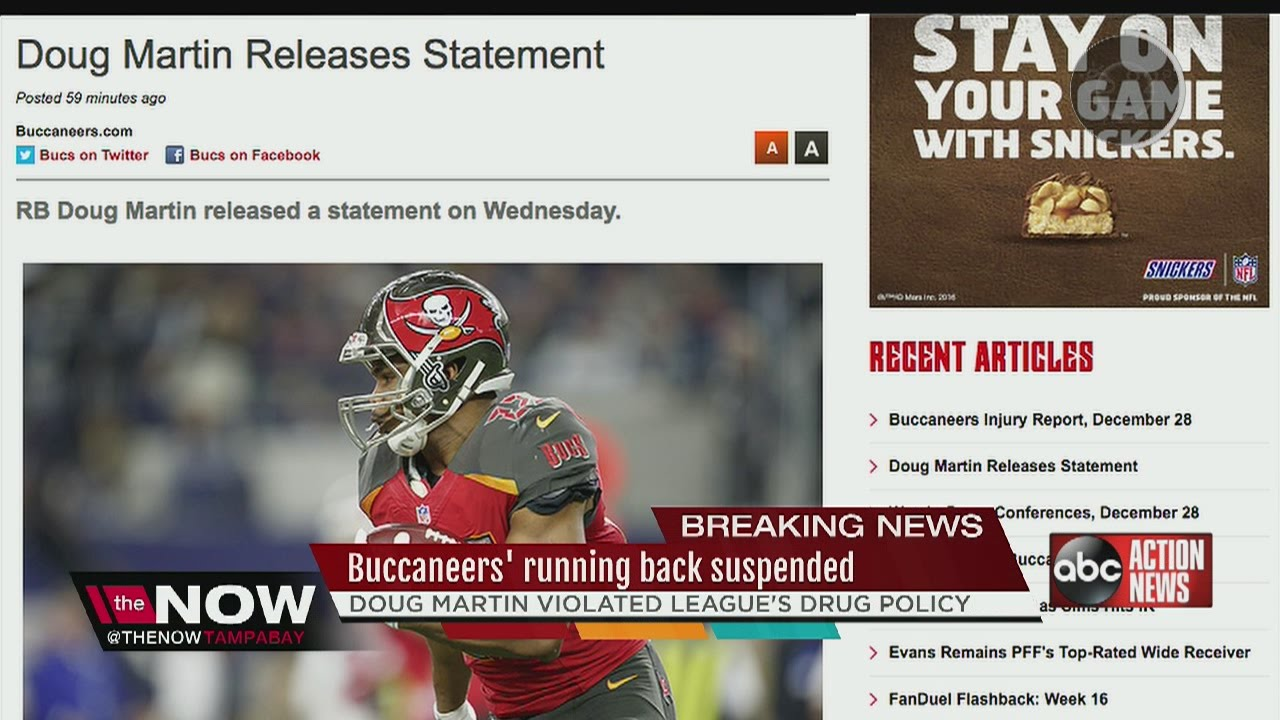 53f55f54 Bucs' running back Doug Martin suspended for violating league's drug policy