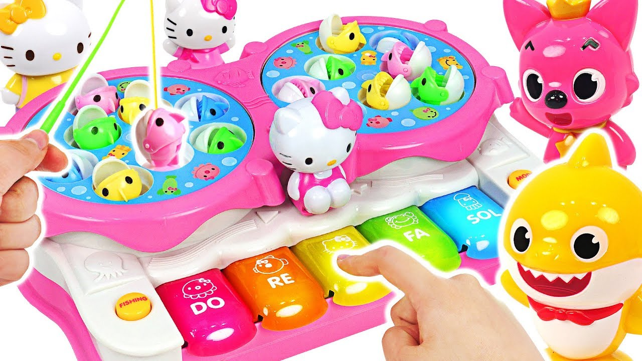 Hello Kitty Piano Fishing Play Baby Shark Vs Pinkfong