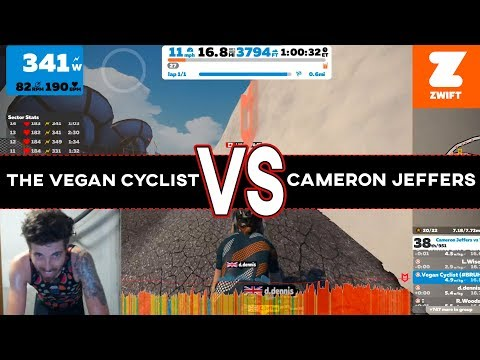 The Vegan Cyclist VS Cameron Jeffers RACE UP ALP DU ZWIFT (A Zwift Race Breakdown)