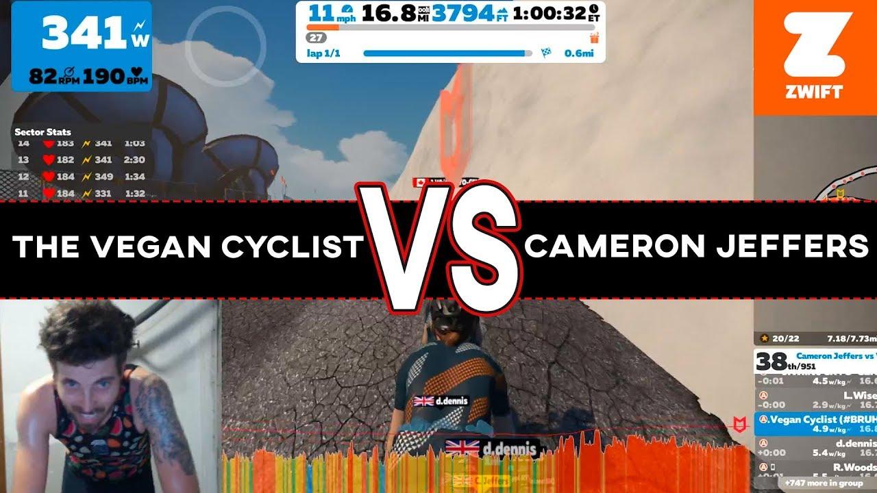 The Vegan Cyclist VS Cameron Jeffers RACE UP ALP DU ZWIFT (A Zwift Race  Breakdown)
