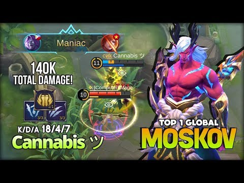 Moskov Aggressive Gameplay with 140k Total Damage! Cannabis ツ Top 1 Global Gameplay ~ Mobile Legends