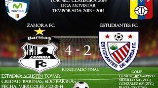 Jornada N° 11 (REPROGRAMADA) - Zamora FC 4-2 Estudiantes de Mérida FC - Torneo Clausura 2014