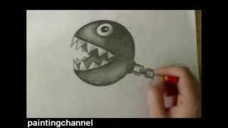 How to Draw Chain Chomp - Super Mario