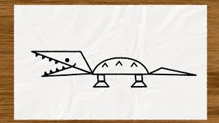 Simple Shape Sketches: How to Draw a Crocodile
