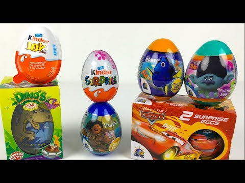 CHOCOLATE SURPRISE EGGS & TOY SURPRISE EGGS WITH DISNEY CARS MOANA DINO EGGS AND KINDER JOY SURPRISE