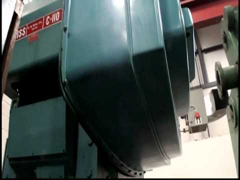 C110 110 Ton Bliss Geared Open Back Inclinable Power Press 1984