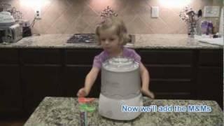 How To Make M&m Valilla Ice Cream Using The Cuisinart Ice Cream Machine.