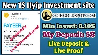 coingoldspot.com | New 1$ Hyip Investment site. 5$ Live Deposit | Live Proof - Hyips daily