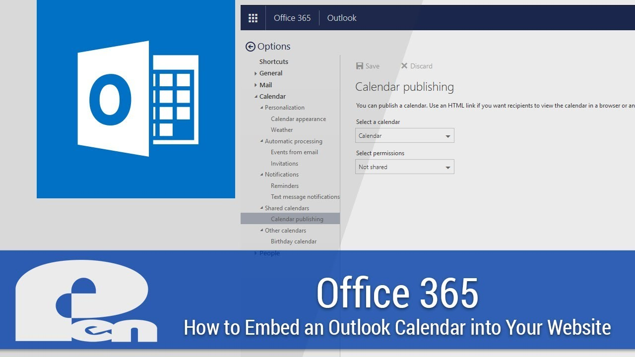 How to Embed an Outlook Calendar into Your Website - Office 365