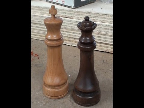 Woodturning a Chess Set - The King!