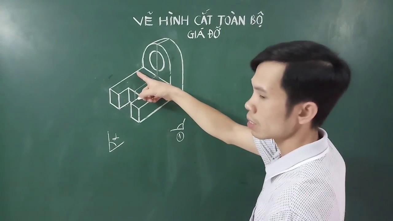 Hướng dẫn cách vẽ hình cắt toàn bộ của Giá đỡ - Bài tập 1 Bài 4 SGK Công nghệ 11