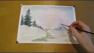 Как нарисовать легкий зимний пейзаж. How to draw an easy winter landscape