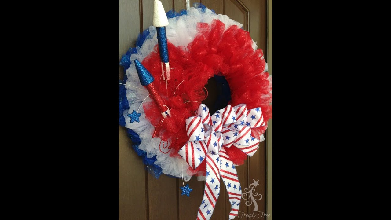 Patriotic Tulle Wreath Tutorial By Trendy Tree Youtube