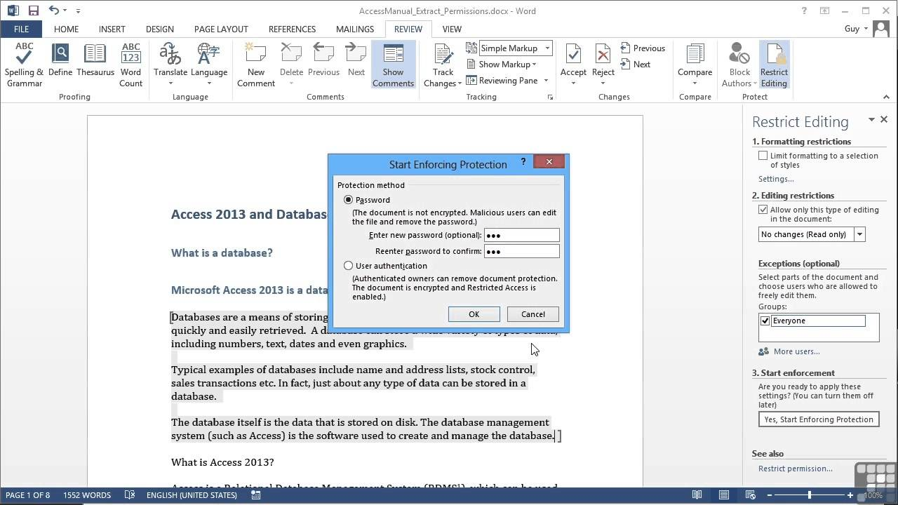 how to unlock editing in microsoft word 2016
