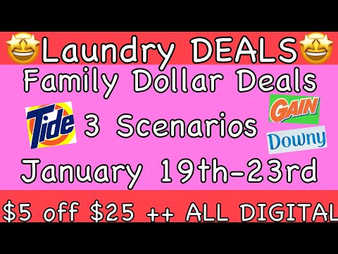 Family Dollar Deals//3 DIGITAL Scenarios//$0.72 Per Item + 8 Items!!//$5 Off $25//LAUNDRY DEALS🤑