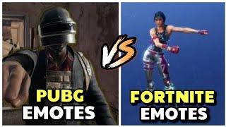 Pubg Emotes vs Fortnite Emotes: Pubg mobile vs Fortnite|| Emotes Challenge