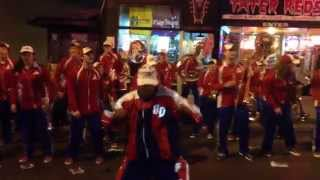 Flyer Pep Band performing on Beale Street