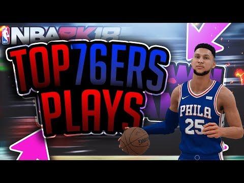 NBA 2k18 BEST 3 POINT MONEY PLAYS- 76ERS PLAYBOOK !!