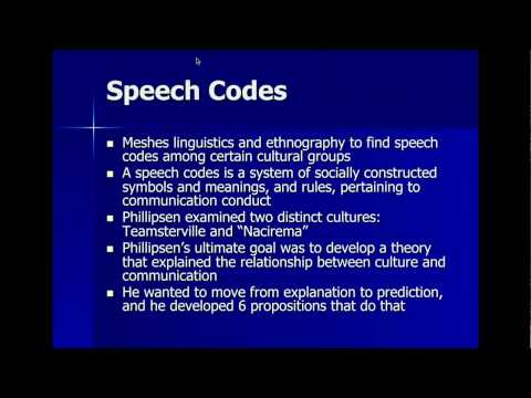Speech Codes Theory Part 1