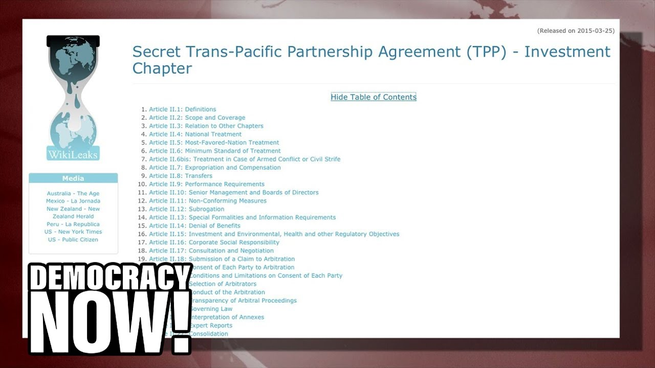 Julian Assange on the TPP | Secretive Deal Isn't About Trade, But Corporate Control