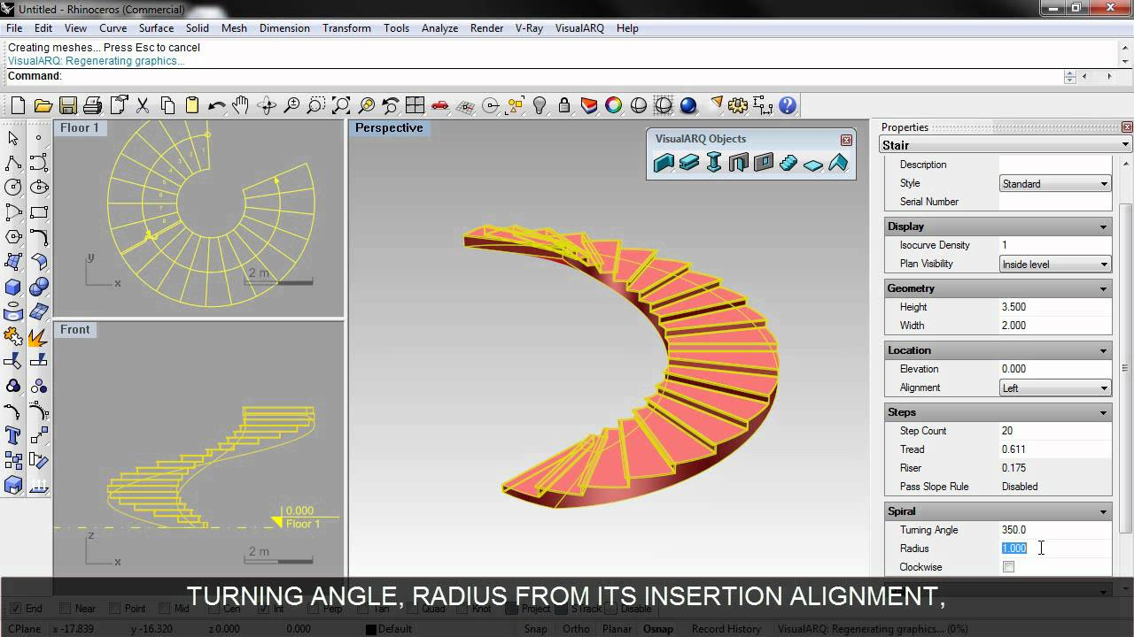 How To Create A Spiral Stair In Rhino And Visualarq Youtube