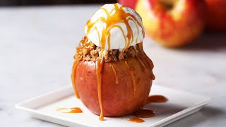 Caramel Crumble Cake Stuffed Apples