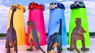 Cars for kids Toys review Learn Colors with Dinosaurs and car toys ミニカーがいっぱい出る幼児向け動画 Gizmone