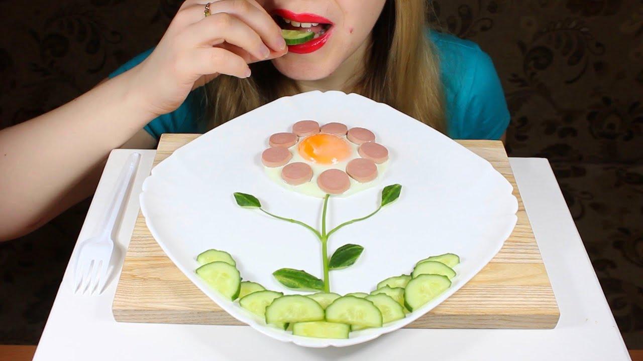 ASMR Eating Fried Egg Flower Eating Sounds NO TALKING  Tasty ASMR Eating
