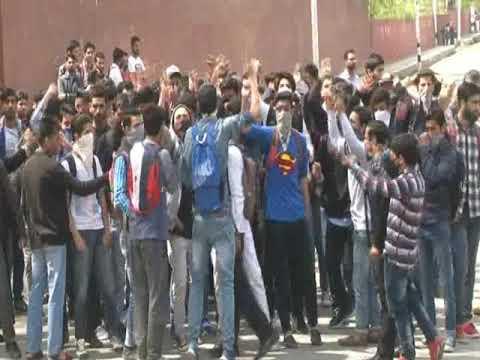 Protests at Amar Singh College Srinagar